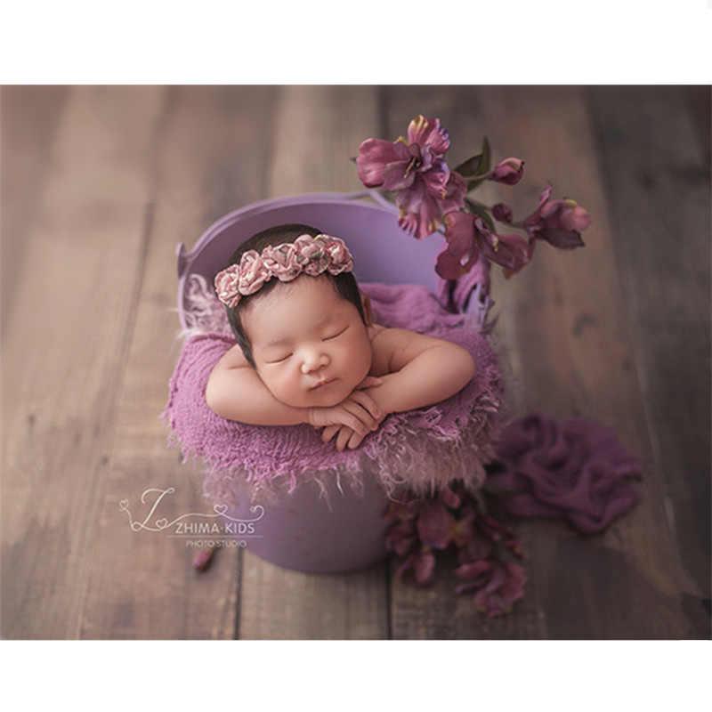 赤ちゃんの小道具写真撮影レトロ無地鉄バケット新生児写真撮影アクセサリー少年新生児小道具バスケットユーズド加工