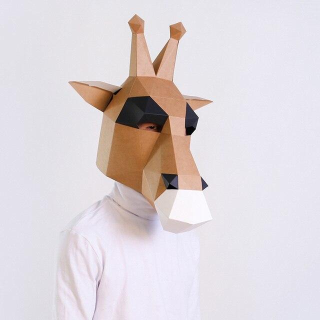 מסכת ראש אוריגמי - ג'ירף חום 2