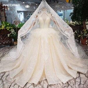 Image 1 - HTL293 Open back sleeveless Wedding Dress with wedding veil tassel backless  v neck shiny bridal dress элегантное платье