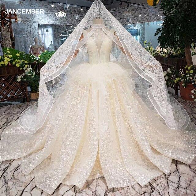 HTL293 Open back sleeveless Wedding Dress with wedding veil tassel backless  v neck shiny bridal dress элегантное платье