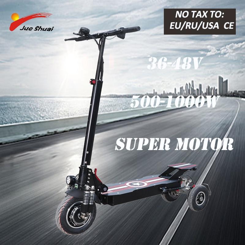 Scooter Eléctrico de tres ruedas JS para adultos de alta potencia 36/48V 1000W 10 pulgadas, Patinete eléctrico plegable