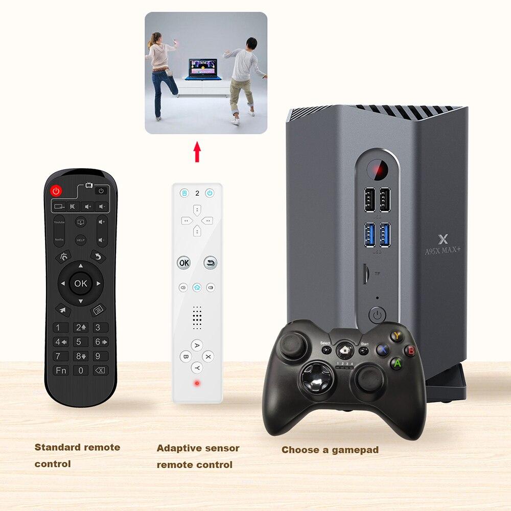 Image 4 - A95X MAX PLUS Amlogic S922X Smart Android 9.0 TV Box 4GB RAM 64GB ROM Gaming Box with Bluetooth Gamepad Motion Sensing RemoteSet-top Boxes   -