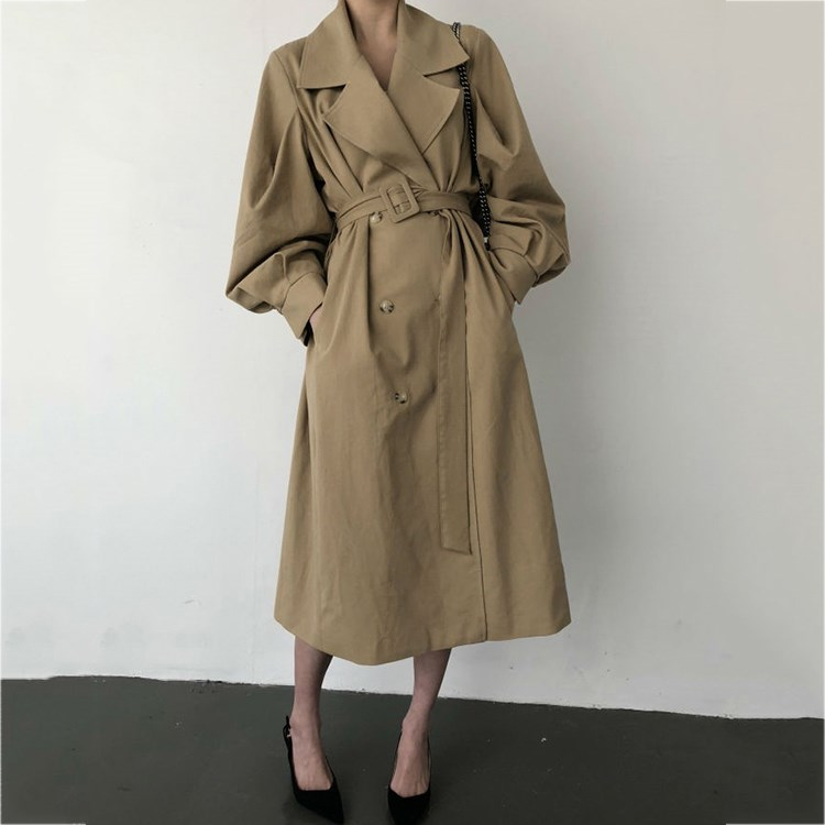 Windbreaker   Trench   Coat Women Belt Waist 2019 Oversize Double Breated Long Coat Autumn Lady Streetwear Korean Outwear