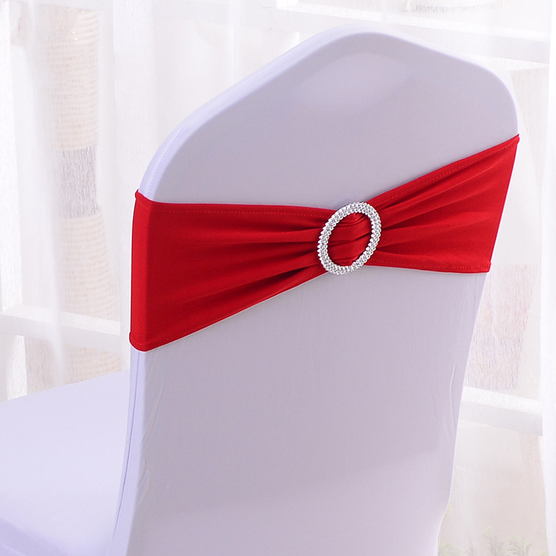 50pcs/lot Stretch Lycra Spandex Chair Covers Bands With Buckle Slider For Wedding Decorations Wholesale Chair Sashes Bow