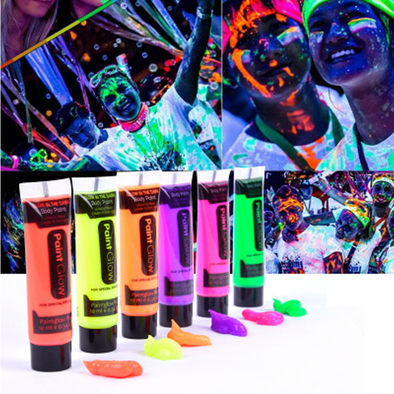 6 Colors Glow In Dark Body Art Paint 10ml UV Glow Face Body Paints Fashion Halloween Makeup Kids Face Paint UV Glow Painting