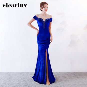 Prom Dress Royal Blue Velour Formal Evening Dresses Boat Neck Evening Gowns DX359-4 2020 Long Plus Size Sexy Split Mermaid Dress