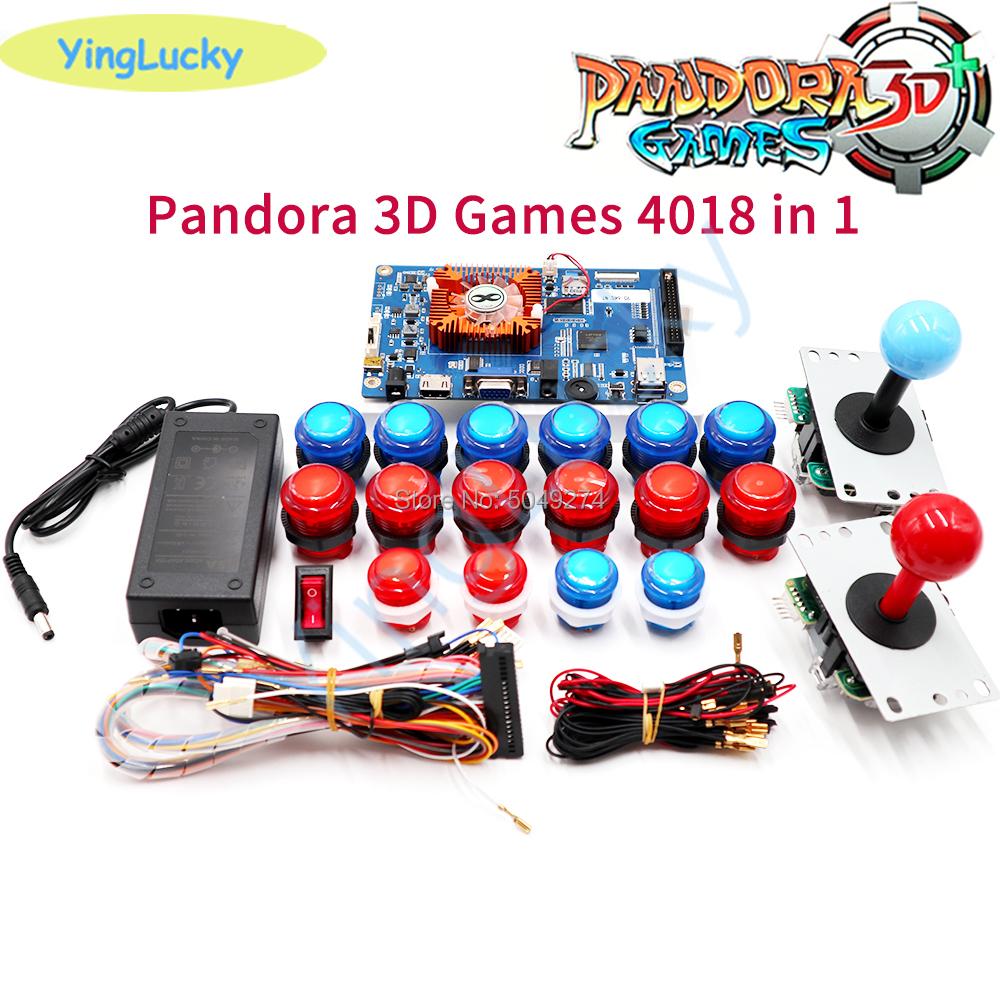Pandora Box 3D WiFi 4018 kit DIY Arcade Kit +LED push buttons +SANWA 5pin Joystick Arcade Console machine Home closet package