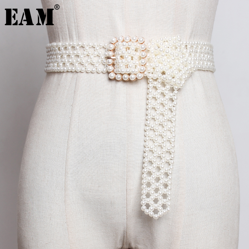 [EAM]  Pearls Hollow Out Square Buckle Long Wide Belt Personality Women New Fashion Tide All-match Autumn Winter 2019 1A834