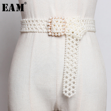 [EAM]  Pearls Hollow Out Square Buckle Long Wide Belt Personality Women New Fashion Tide All match Spring Autumn 2020 1A834