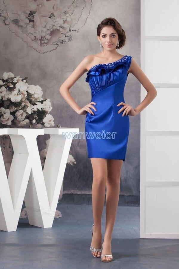 Free Shipping Brides Maid Dresses 2016 New Design One Shoulder Women's Formal Gown Rose Petals Blue Custom Crystal Evening Dress