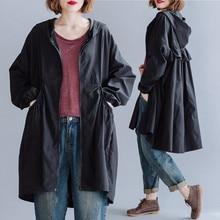 BIG SIZE 4XL Spring Autumn Women Fashion Hooded Windbreaker