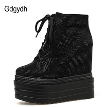 Gdgydh Spring Autumn Boots Wedges Shoes of Rubber for Women Sexy Rhinestones crystal Ankle Lace-up Footwear Free Shipping