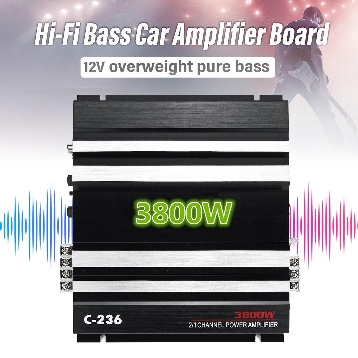 3800W 12V Car Amplifier Multichannel Powerful Car Audio Subwoofer Aluminum Alloy Vehicle Power Stereo Amp Car Sound Amplifiers