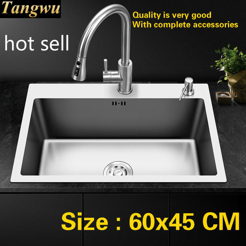 Free Shipping Household Balcony Kitchen Manual Sink Single Trough 304 Food Grade Stainless Steel Hot Sell Standard  60x45 CM