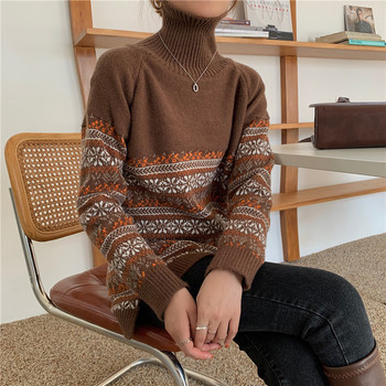 Pullover Women 2020 Autumn and Winter High Neck Loose Retro Printing Stitching Sweater Long Sleeve Long Knitted Sweaters Thicken недорого