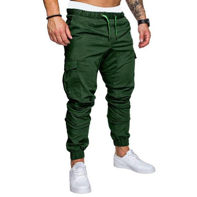 Hip Hop Joggers Pants New Male Multi-pocket Cargo Pants Skinny Fit Sweatpants 4