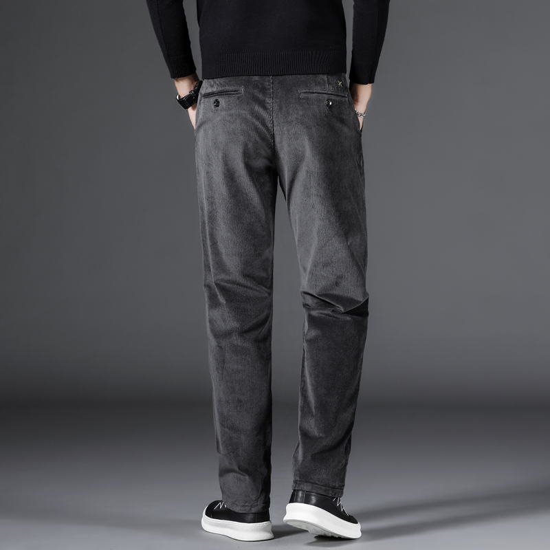 SHAN BAO corduroy comfortable cotton men's straight casual pants 2020 autumn winter brand clothing classic embroidery trousers