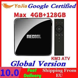 Image 1 - Google certyfikat Androidtv 9.0 MECOOL KM3 TV Box z systemem Android 9.0 4 GB pamięci RAM i 64 GB 128G procesor Amlogic S905X2 4 K głos 5G Wifi KM9 Pro ATV 2G16G