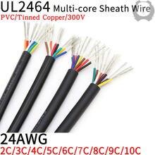 1m 24awg ul2464 linha de áudio do canal de cabo de fio revestido 2 3 4 5 6 7 8 9 10 núcleos isolados fio de controle de sinal de cabo de cobre macio
