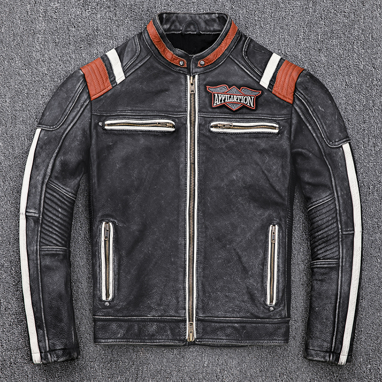 H541d6782d5574bd8bb4e429581d7a76b1 2019 Vintage Black Men Leather Motorcyclist Jacket Skull Embroidery Plus Size 3XL Genuine Cowhide Short Biker Coat FREE SHIPPING