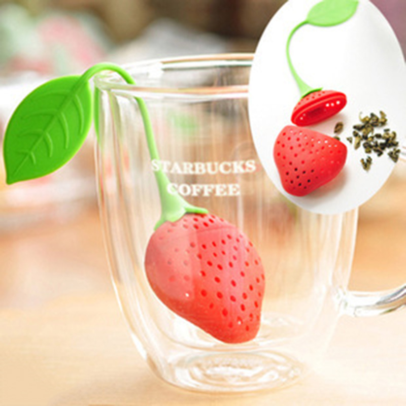 1 PCS Kitchen Filter Diffuser Supplies Tea Strainer Non-toxic Strawberry Shape Silicone Tea Infuser Tea Bag Teapot Accessory