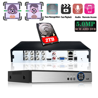 H265+ Face Recognition 5MP 4MP 8CH 8 Channel 6in1 XMEYE Onvif Hybrid TVi CVI NVR AHD CCTV DVR Surveillance Video Audio Recorder