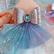 6 ピース/ロット愛らしいダイヤモンドの房のヘア弓クリップ二重層シャイ王女星空メッシュ hairbow 女の子ヘアピンギフト