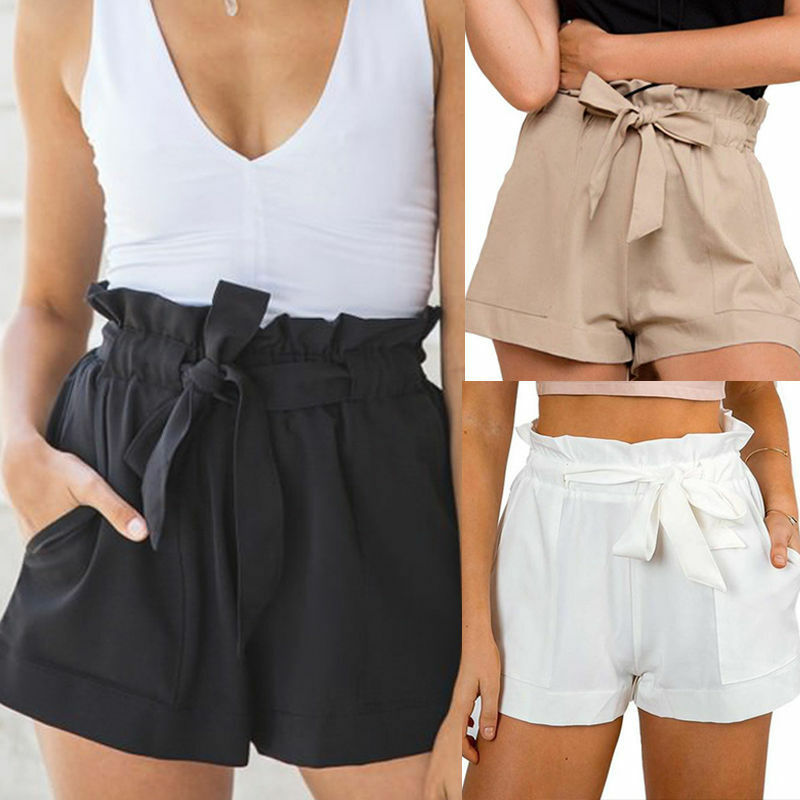 Women High Waisted Floral Casual Summer Beach Short Hot Pants Ruffle Mini Shorts Fashion Loose Lace-up Elastic Lady Girls Short