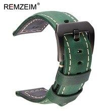 REMZEIM Handmade Crazy Horse Genuine Leather Strap 20mm 22mm 24mm 26mm Sport Watchbands Watch Accessories With Steel Buckle