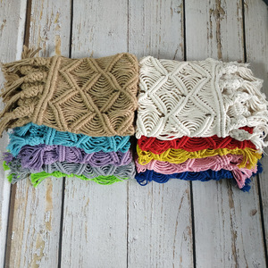 Image 3 - Newborn macrame blanket photography props,Baby colorful basket mat photography props