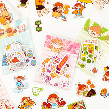 Kawaii cute girl character illustration sticker pack hand account phone back shell diy decorative small pattern stickers
