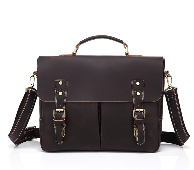 Genuine Leather High Quality  Bag Men Buiniess Travel Shoulder Bags