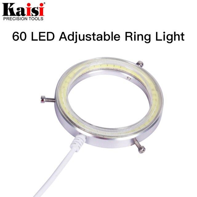 Kaisi سامسونج 60 LED قابل للتعديل مصباح مصمم على شكل حلقة إضاءة مصباح ستيريو مجهر تكبير USB التوصيل
