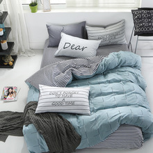 Pure cotton simple four-piece set, three-piece cotton quilt cover dormitory bed, bed linen quilt cover cotton bedding home textile three piece bedding 2 pillowcases 1 quilt cover simple solid color 150 210 cm young bedroom supplies 2020 fashion