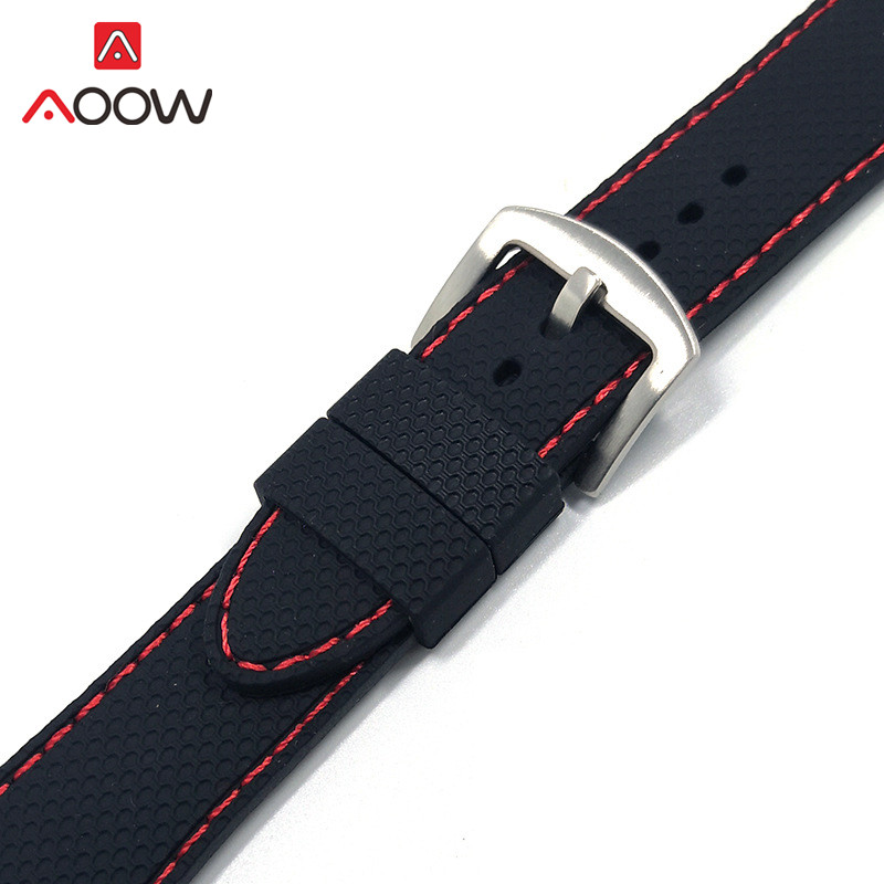 20mm 22mm 24mm Universal Soft Silicone Watchband Sport Waterproof Rubber Replacement Bracelet Band Strap Accessories Black Red