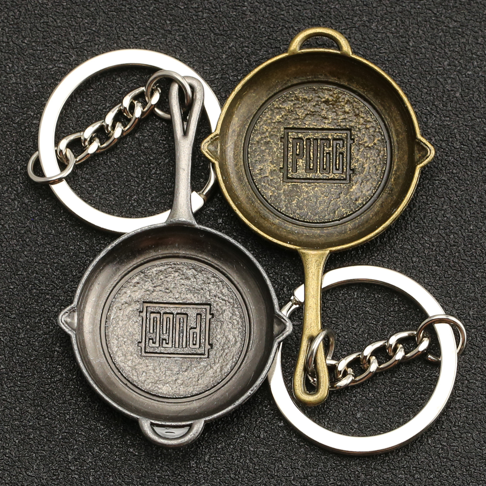 PUBG Pan Keychain Frying Saucepan Eat Chicken Dinner Target Keyring Key Holder Chain Ring Weapon Military Game Jewelry Wholesale