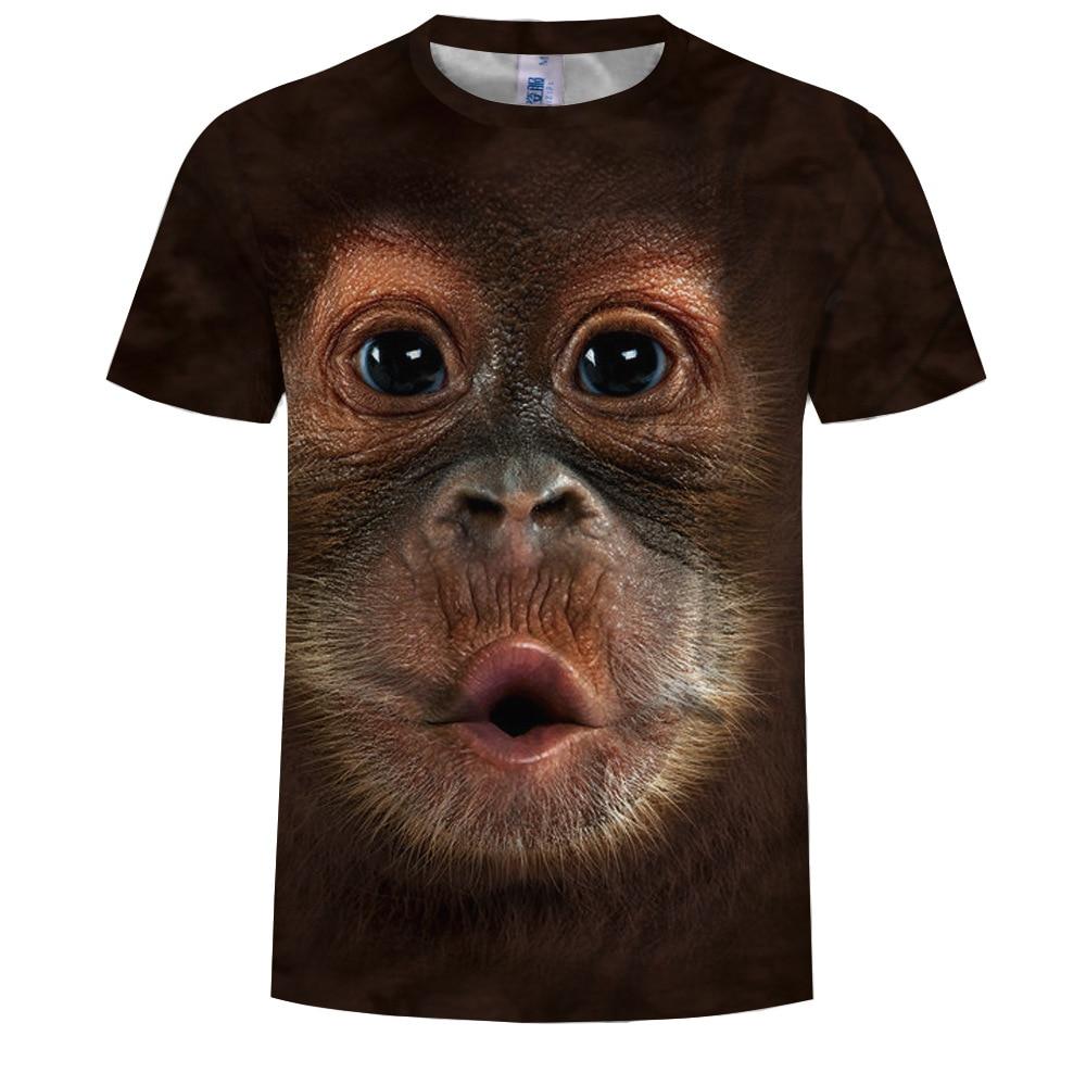 Summer new 3D printed T-shirt animal print men's T-shirt print casual T-shirt O-neck hip hop short sleeve size s-6XL