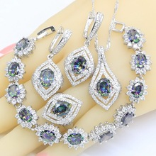 цена на Rainbow Zircon 925 Silver Jewelry Sets for Women  Bracelet Earrings Necklace Pendant Ring Gift Box New Arrival