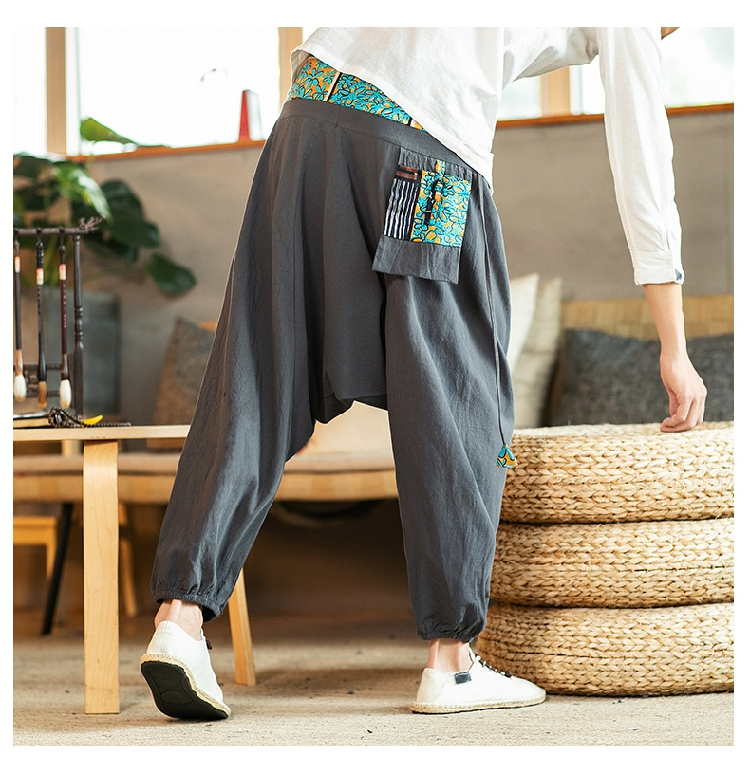 Sinicism Store Chinese Cross-Pants Men 2020 Autumn Oversize Fashion Mens Patchwork Button Pants Male Wide-legged Loose Pants 58