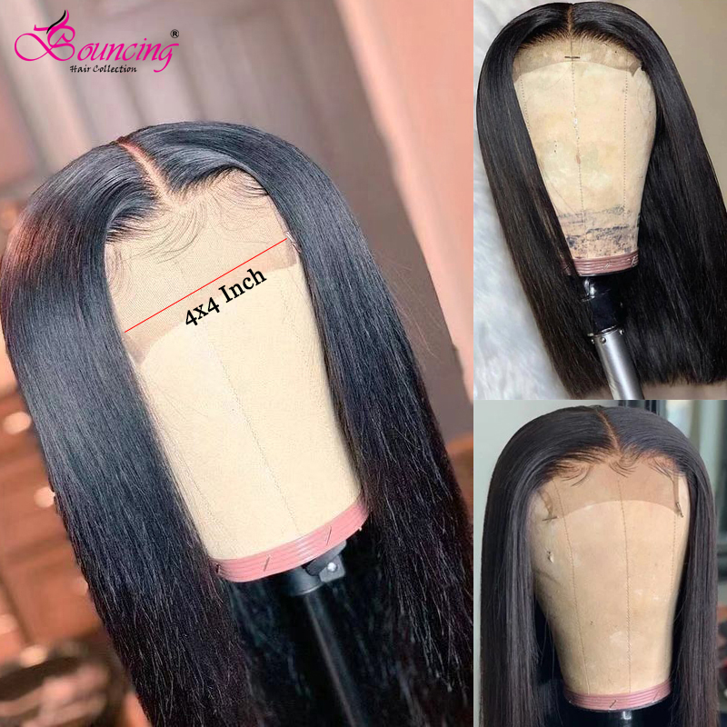 Bouncing Brazilian Remy Hair Straight 4X4 Lace Closure Human Hair Wigs 150% 180% 8-26 Inch Middle Part Pre Plucked Lace Part Wig