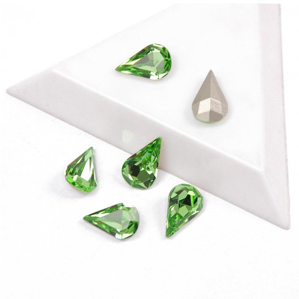 super glitter cristal peridot cor pera em forma de tamanho misto 27 pcs 21 pcs 12