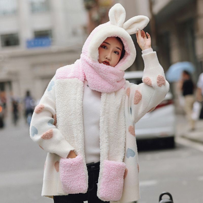 Girls 3 In 1 Hat Gloves Scarf Stitching Color Adorable Rabbit Ear Hoodie Earflap