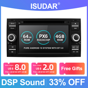 Image 1 - Isudar PX6 2 Din Android 10 GPS Autoradio 7 Inch For Ford/Mondeo/Focus/Transit/C MAX/S MAX/Fiesta Car Multimedia Player 4GB RAM