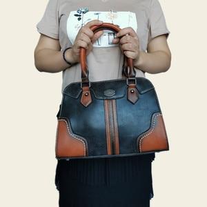 Image 5 - 2019 bayan çanta Kadın Hakiki Deri Çanta Yeni Lüks Vintage Kadın Çanta Büyük Kapasiteli omuzdan askili çanta Ana Kesesi Femme
