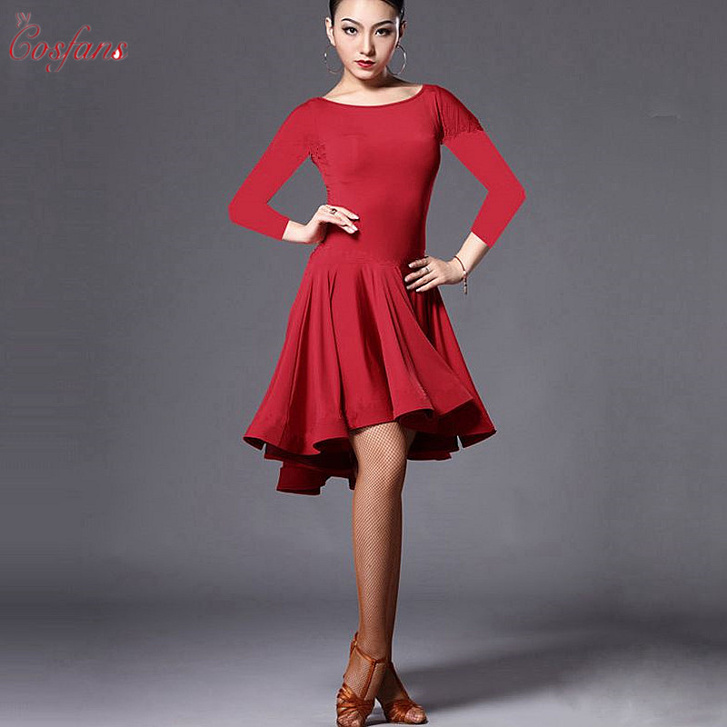Woman Practice Dress 2019 Performance Latin Dance Skirt Red Black Woman Rumba Cha Cha Latin Dance Dress Professional Latin Dance