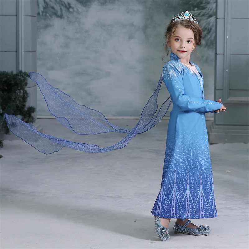 Lạ Mắt Anna Elsa Tay Dài Đầm Công Chúa 4-10T Trẻ Mùa Đông Halloween Carnival Trang Phục Elza Đầm Trẻ Em giáng Sinh Áo