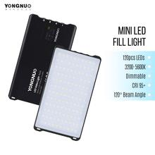 YONGNUO YN125 Mini LED işık 3200 5600K fotoğraf lamba 120LEDs dim dahili pil için video Selfie fotoğraf çekmek