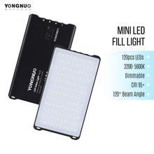 Yongnuo yn125 mini lâmpada de fotografia, luz de preenchimento led 3200 5600k para fotografia, lâmpada com 120leds, regulável, bateria embutida para tomada de vídeo selfie foto