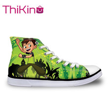 Thikin  High Top Canvas Shoes for Male Ben10 Sneakers Teens Lace-up Flat shoes male Breathable vulcanized