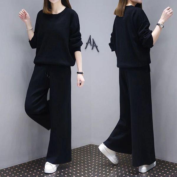 Women's Black Knicker Western Style Suit Leisure Loose Long Sleeve Wide Leg Twinset Pullover Sweater Pants Two Piece Set
